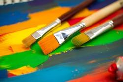 art paints, palette, brushes