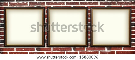 art  photo frame on a brick wall. urban exhibition #15880096