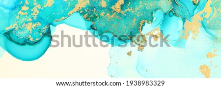 art photography of abstract fluid art painting with alcohol ink, turquoise and gold colors Stockfoto ©