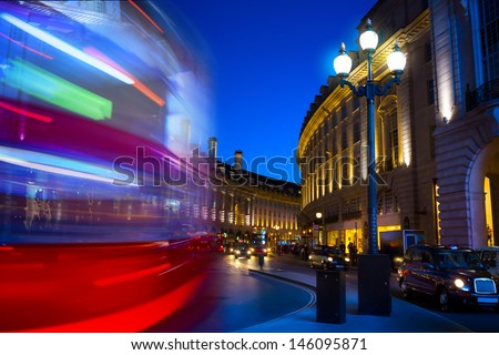 art Piccadilly Circus in London by night - stock photo
