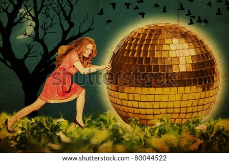 art picture with beautiful young woman with disco ball, vintage collage