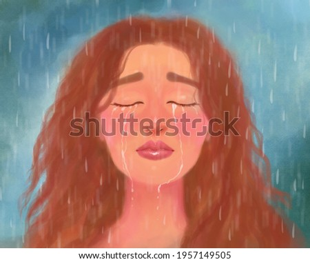art portrait of a girl crying and suffering, with her eyes closed in the rain. Emotional stress, pain, loss, betrayal and depression. Crying female face Photo stock ©