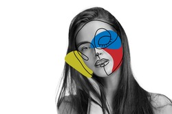 Art portrait of young woman, fashion model with abstract geometrical drawings by modern one line style technique. Contemporary art, beauty, colors, glamour, inspiration. New look of paintography.