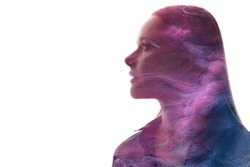 Art portrait. Skin rejuvenation. Esoteric recreation. Spiritual aura. Double exposure glitter neon glow purple smoke in profile woman silhouette isolated on white copy space background.