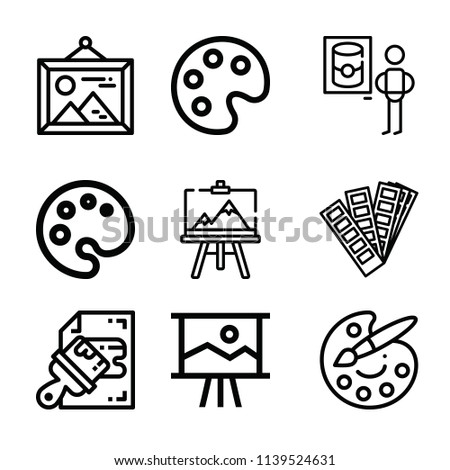Art related set of 9 icons such as interior designer, palette, canvas, painting, paint palette