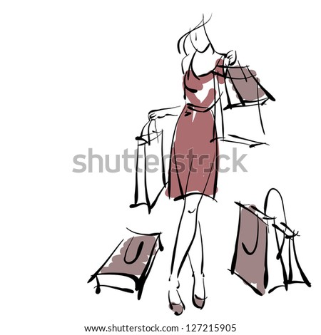 art sketching sale background with young woman and space for text. Vector version is also in my gallery.