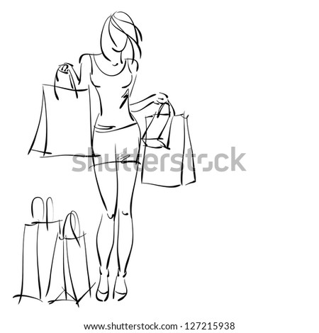art sketching sale background with young woman in short skirt and space for text. Vector version is also in my gallery.