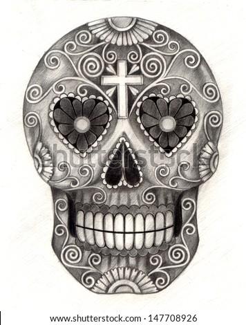 art skull day of the dead hand
