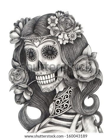 Art skull day of the dead Hand drawing on paper