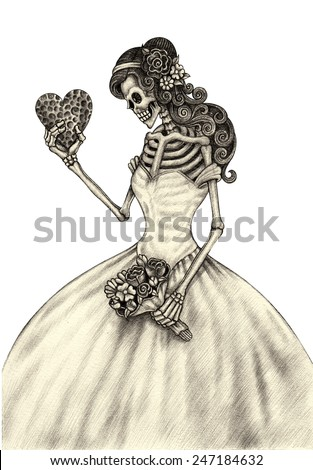 Stock Photo Art skull day of the dead. Hand drawing on paper.