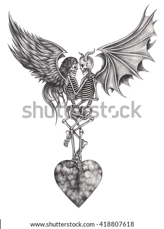 Art Skull Devil And Angel Make Love Hand Pencil Drawing