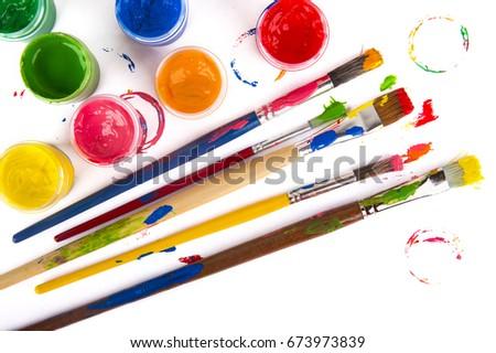 art studio paints, palette Zdjęcia stock ©