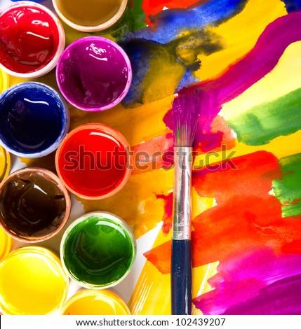 art studio paints, palette, brush
