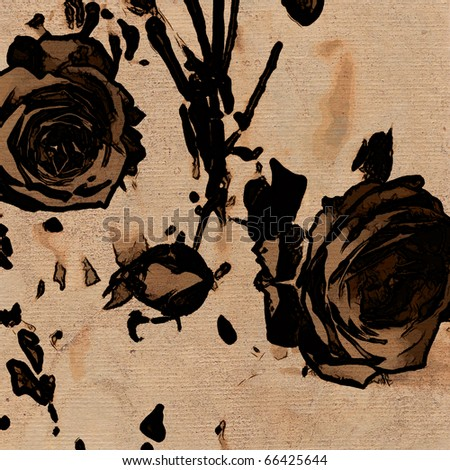 art stylization roses vintage sepia background with space for text