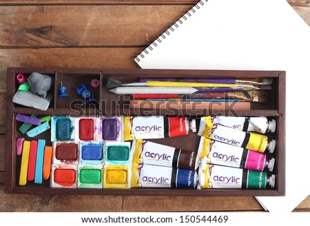 Art Supplies and Blank Sketch Pad #150544469