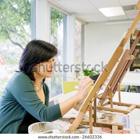 Art teacher painting