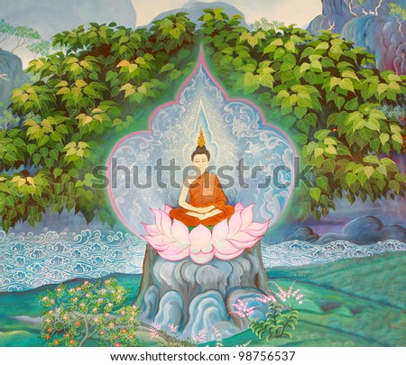 Art Thai, Buddha painting on wall in temple.