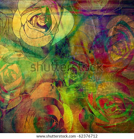 art  transparency roses grunge background pattern in bright gold, orange, red, green and violet colors