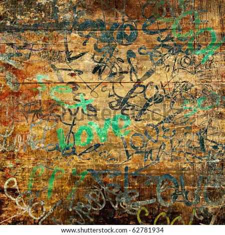 art urban graffiti on brown wood background with word love in green and blue colors