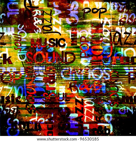 art urban graffiti raster bright and dark background with music name words