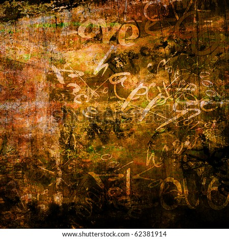 art urban graffiti raster dark brown background with words love and happy