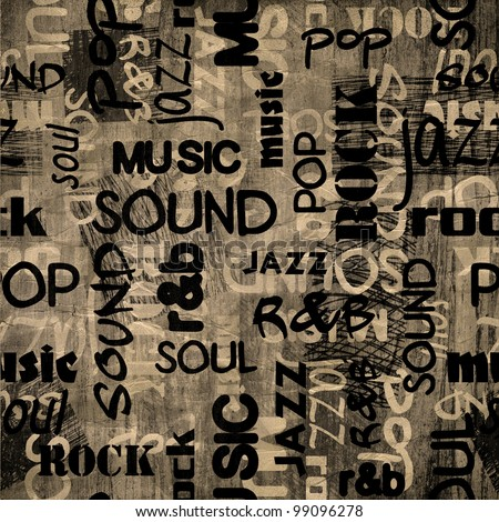 art urban music graffiti raster monochrome background in black, grey and white colors