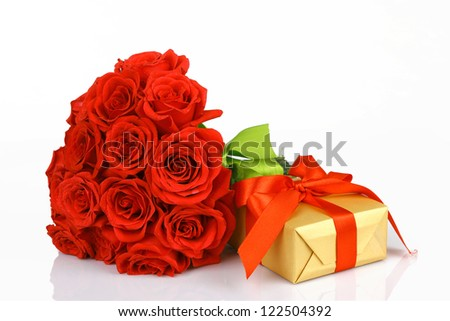 art valentines greeting card with red roses and gift box isolated on white background
