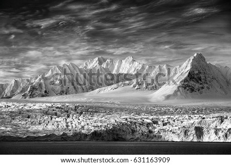 Art view on winter Arctic. White snowy mountain, blue glacier Svalbard, Norway. Ice in ocean. Iceberg in North pole. Global warming, clima change. Beautiful landscape. Black and white. Land of ice.  #631163909