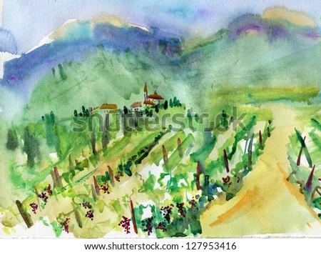 Art, vineyard, landscape, painting (watercolor)