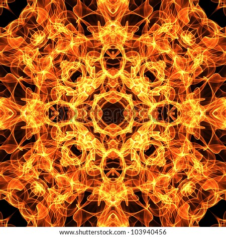 art vintage fiery geometric ornamental seamless pattern in bright gold, orange and brown colors on black background
