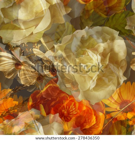 art vintage floral seamless pattern with gold orange and white roses, asters and peonies on dark green brown background. Double Exposure effect