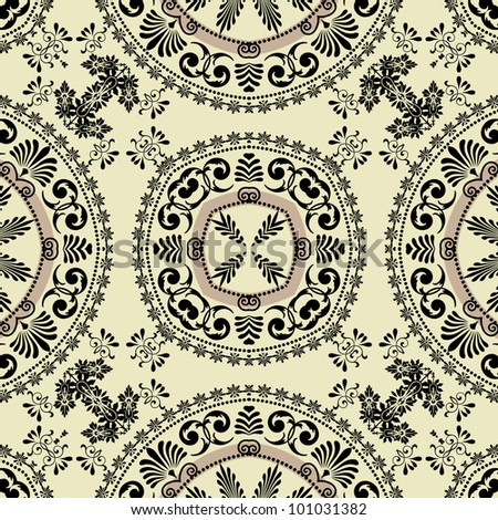 art vintage geometric ornamental pattern in black graphic