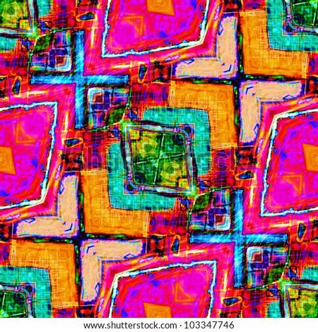 art vintage geometric seamless pattern, pink, fuchsia, orange, red and green background