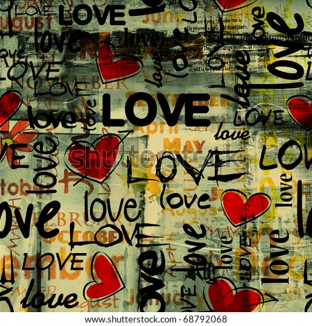 art vintage graffiti pattern, valentine background in red, old gold, beige, green and black colors with word love and hearts