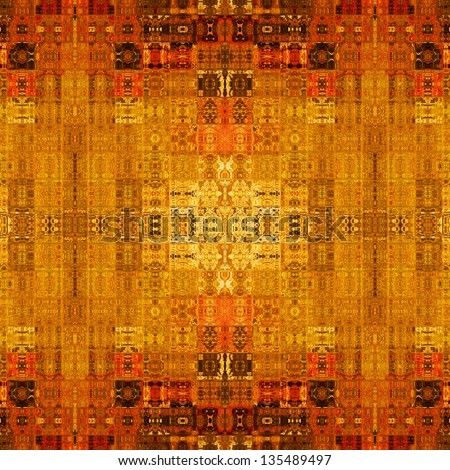 art vintage monochrome geometric traditional ornamental pattern in gold, orange, brown and red colors