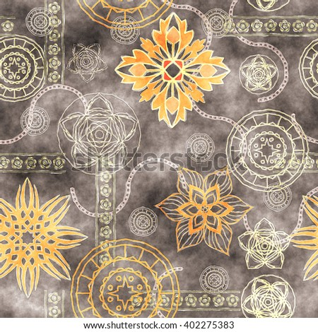 art vintage stylized geometric flowers seamless pattern, grunge colored background Сток-фото ©