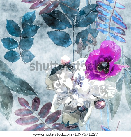 art vintage watercolor colorful floral seamless pattern with lilac and white poppies, peonies, leaves and grasses on light blue background