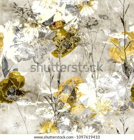 art vintage watercolor monochrome floral seamless pattern with old gold and white poppies, peonies, roses, leaves and grasses on light grey background