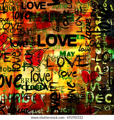 art vintage word pattern with love and hearts, bright colorful background with gold, red, black and green colors