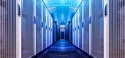 Art visualization corridor of data warehouse in warning red toning. Design web hosting technology big data center background. Futuristic graphic computer service element.