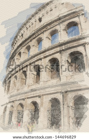 art watercolor background with european antique town, Coliseum