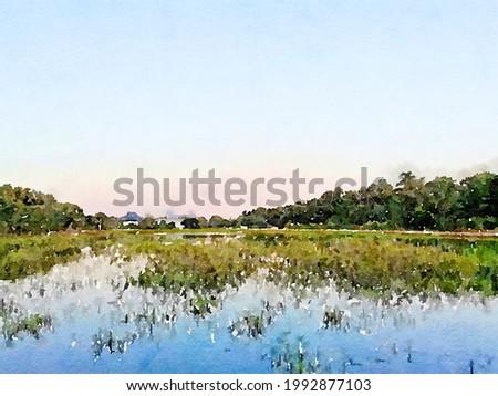 art watercolor of landscape background