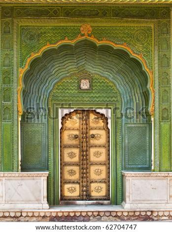Art work Door in City Palace Jaipur, India