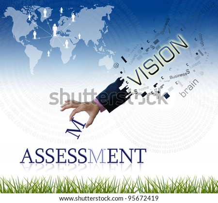 """art work of business hand with the """" assessment """" word with nature background."""