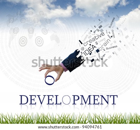 "art work of business hand with the "" development "" word with nature background."