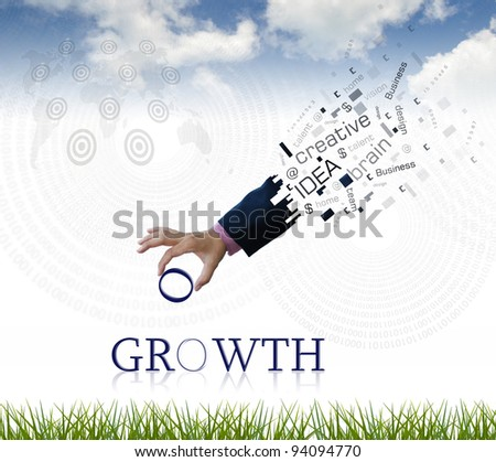 "art work of business hand with the "" growth "" word with nature background."