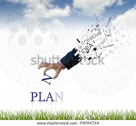 "art work of business hand with the "" plan "" word with nature background."