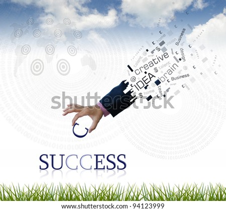 """art work of business hand with the """" success """" word with nature background."""