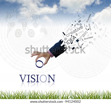 "art work of business hand with the "" vision "" word with nature background."
