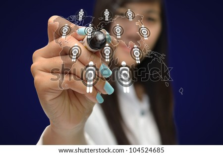 Art work of business Idea with touching virtual screen of the business object with modern background.